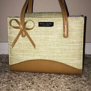 kate spade Straw and Leather Satchel w/ Bow